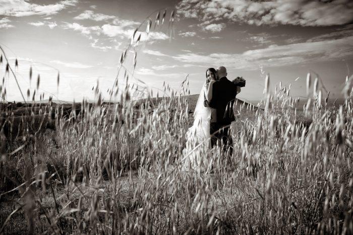 Uno scatto in bianco e nero rubato tra il rigoglioso grano sul promontorio abruzzese