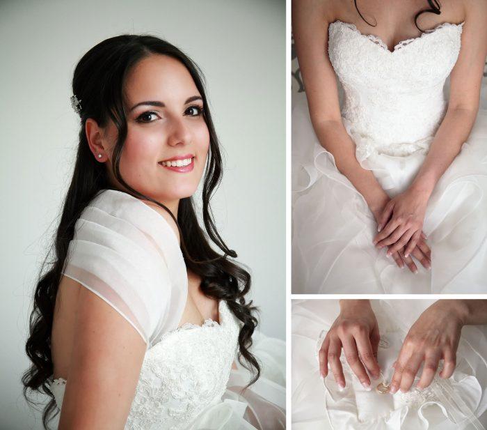 Scatto della sposa in primo piano e dettagli mani con cuscino delle fedi nuziali