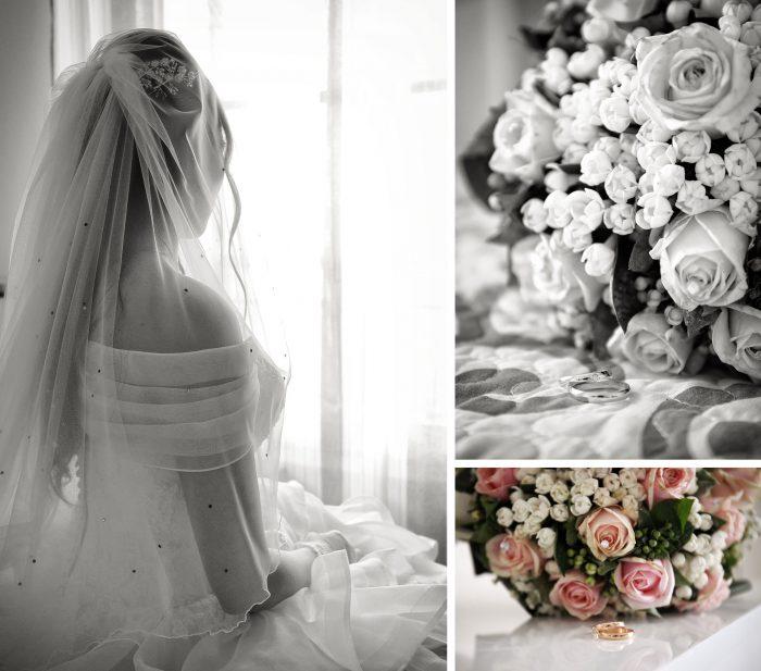 Sposa coperta dal velo di spalle seduta sul letto e particolari fedi nuziali e bouquet