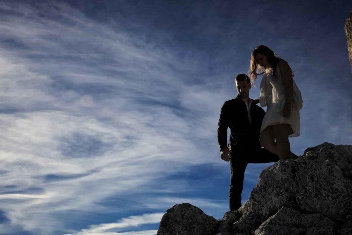 Servizo prematrimoniale a Rocca Calascio verso la discesa
